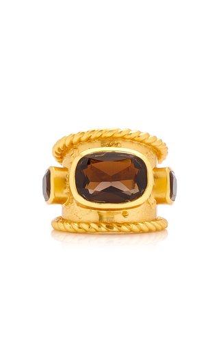 Gaia 24K Gold-Plated Smoky Quartz Ring