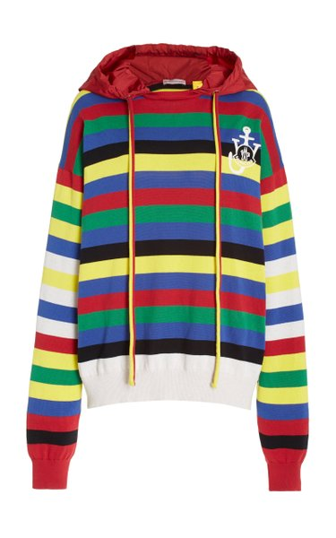 1 Moncler JW Anderson Striped Cotton Hooded Sweater