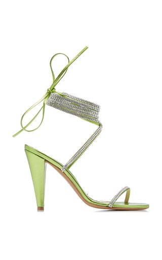 Amina Crystal-Embellished Leather Wrap Sandals