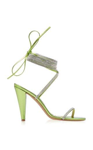 Amina Crystal-Embellished Leather Wrap Sandals