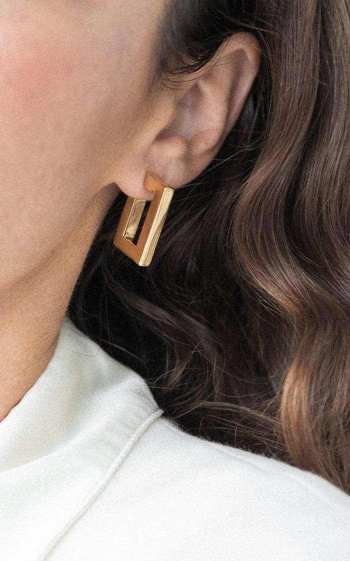 Square Plaza 14K Vermeil Hoop Earrings