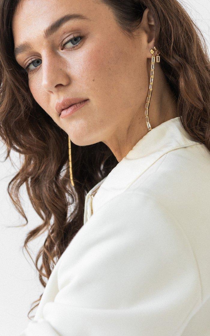 Ricci Baguette 14K Vermeil Drop Earrings