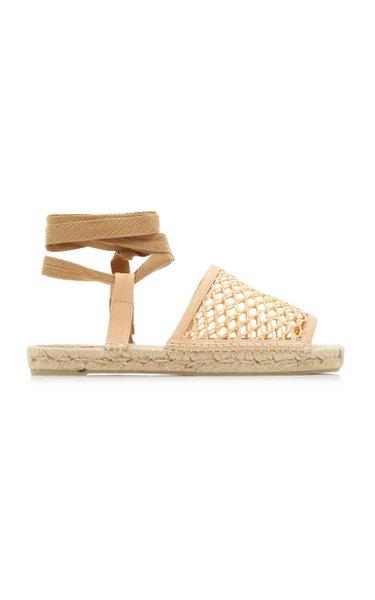 Net-Trimmed Raffia Espadrille Sandals