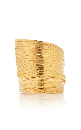 Round Gold Plated Textured Ring