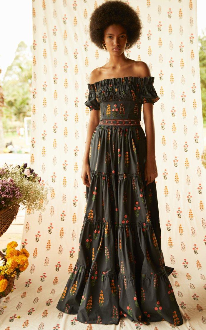Macadamia Dahlia-Embroidered Cotton-Poplin Maxi Skirt