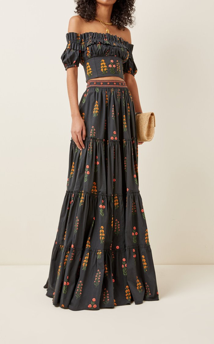 Macadamia Dahlia Cotton-Poplin Maxi Skirt