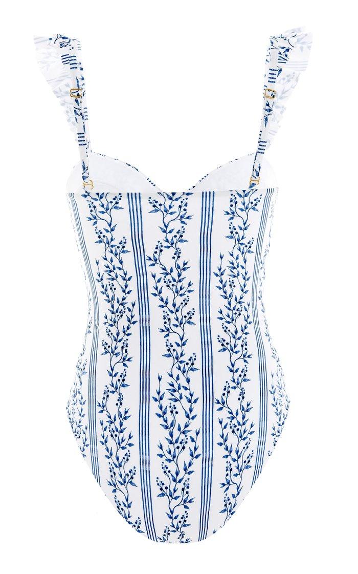 Ajonjoli Ruffled Grosellas-Print One-Piece Swimsuit