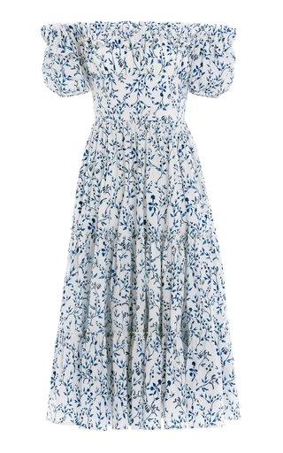 Banana Acacias-Printed Cotton Poplin Off-The-Shoulder Midi Dress