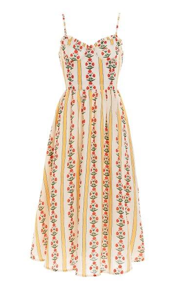 Acacia Carmina-Print Linen Midi Dress