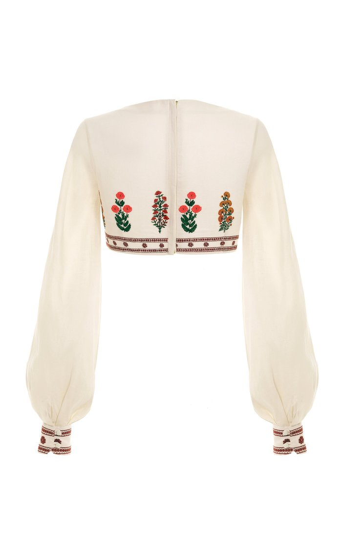 Pera Dahlia-Embroidered Linen Cropped Top