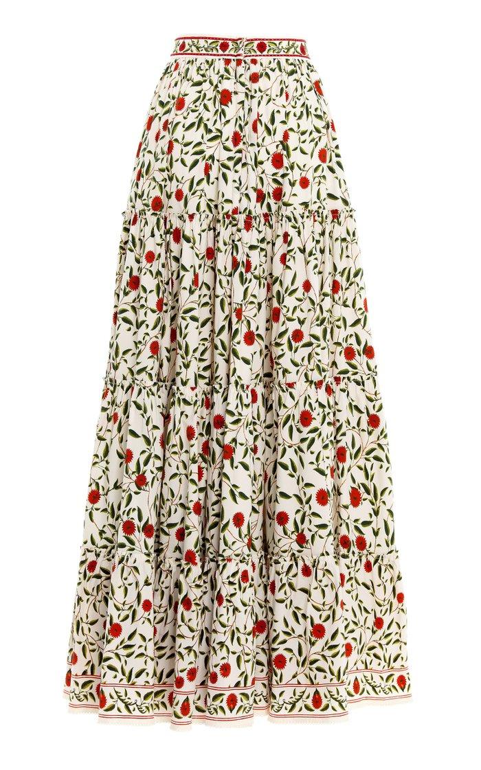Macadamia Hedera-Printed Cotton-Poplin Maxi Skirt