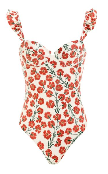 Ajonjoli Ruffled Bermelo-Print One-Piece Swimsuit