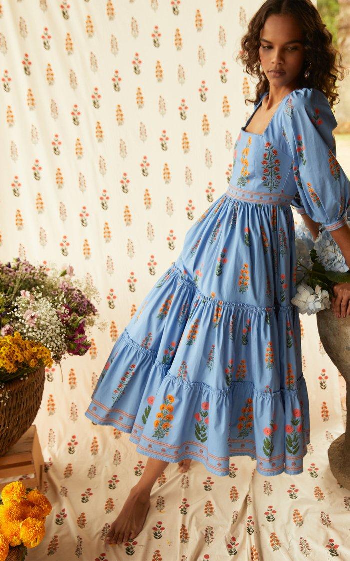 Miel Dahlia-Embroidered Cotton-Poplin Midi Dress