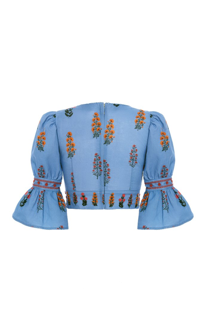 Violeta Dahlia-Hand Embroidered Linen Cropped Top