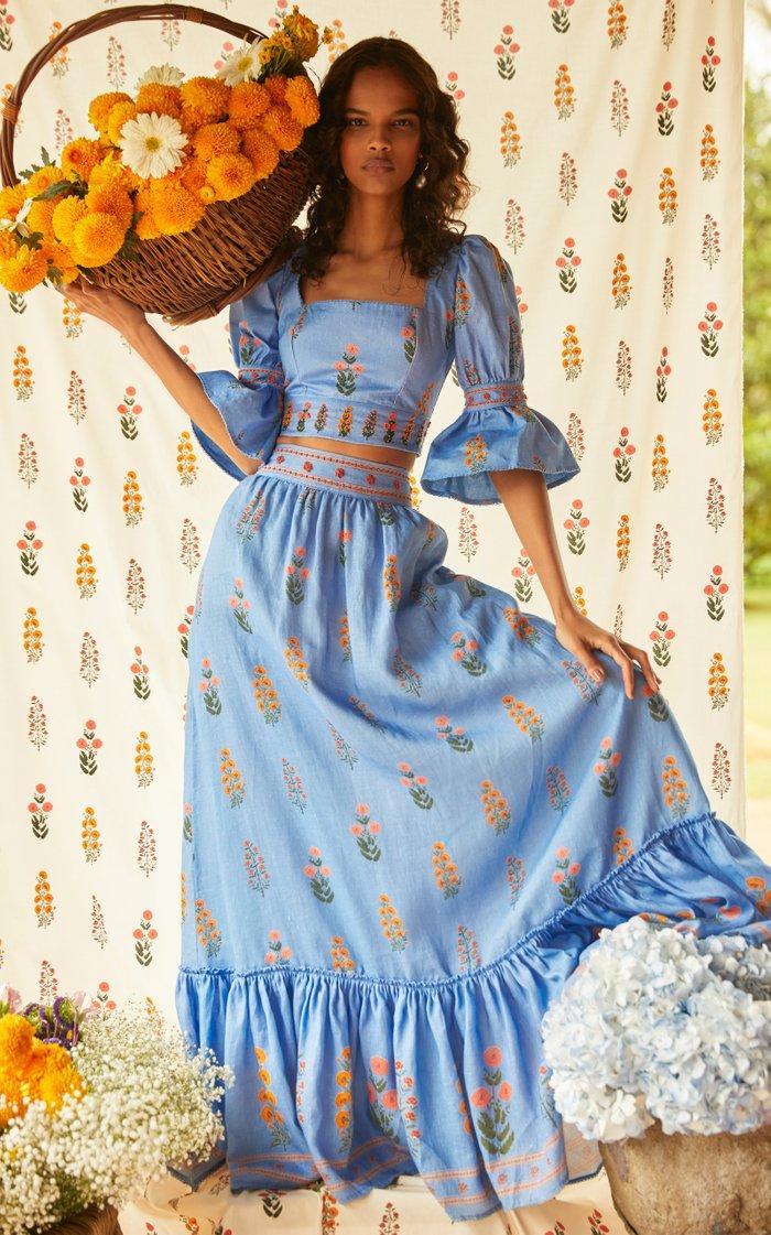 Algodon Dahlia Hand-Embroidered Linen Maxi Skirt