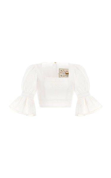 Violeta Bruma-Hand Embroidered Cotton Crop Top
