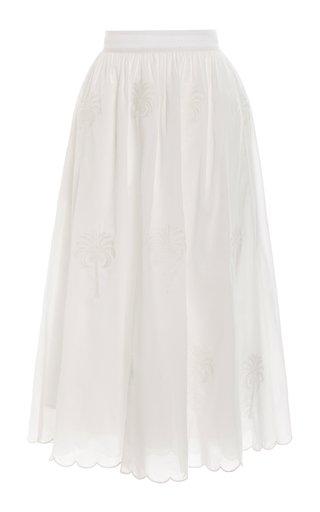 Curcuma Bruma-Hand Embroidered Cotton Midi Skirt