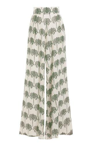 Azahar Cocora-Print Linen Wide-Leg Pants