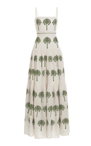 Lima Cocora-Hand Embroidered Linen Maxi Dress