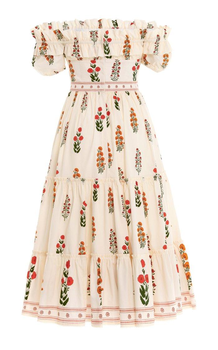 Banana Dahlia-Embroidered Cotton Poplin Off-The-Shoulder Midi Dress