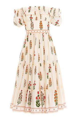 Banana Dahlia Cotton Poplin Off-The-Shoulder Midi Dress