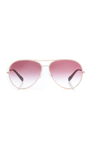 Aviator Rose-Gold Metal Sunglasses