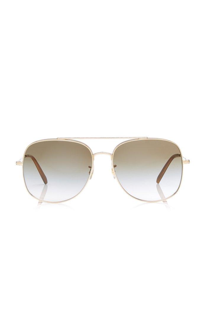 Taron Square-Frame Metal Sunglasses