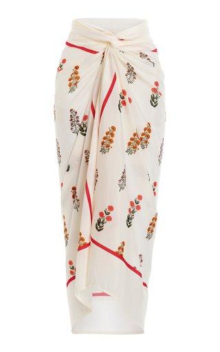 Lavanda Dahlia-Printed Cotton-Silk Pareo