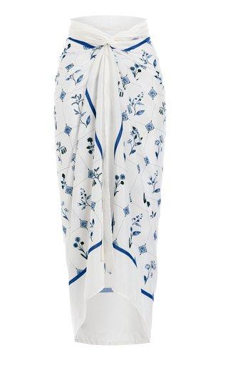 Lavanda Loza-Printed Cotton-Silk Pareo