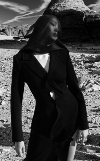 Asymmetric Wool Crepe Coat