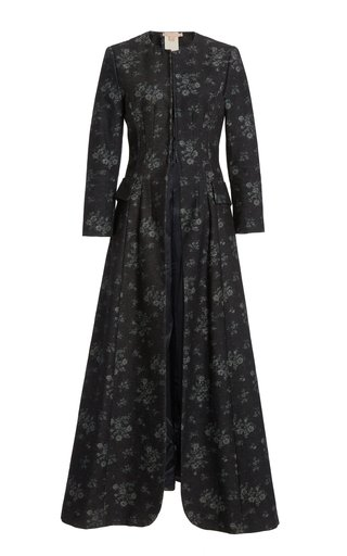 Sebastiana Floral Cotton Collarless Coat