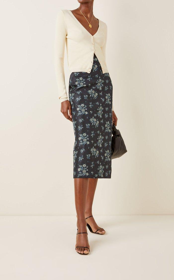 Stella Floral Silk Midi Skirt