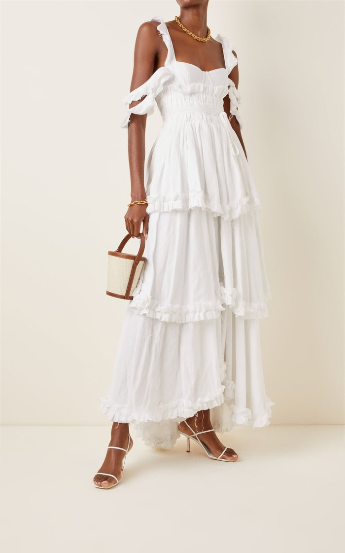 Samanta Tiered Linen Cold-Shoulder Maxi Dress