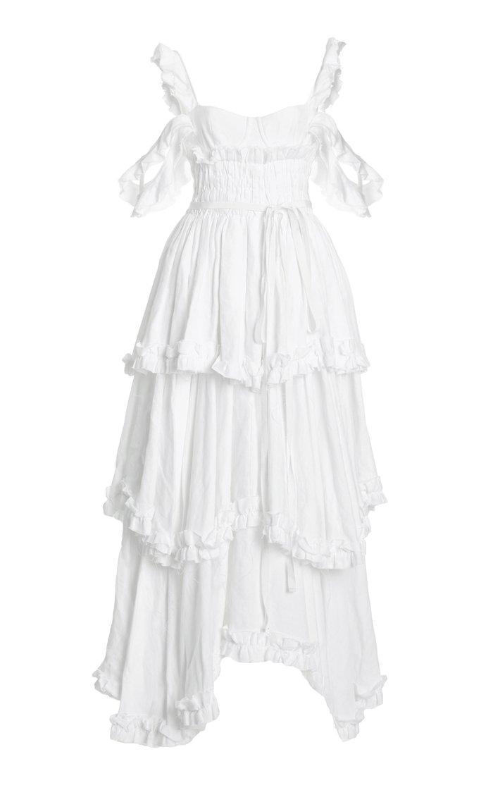 Samanta Tiered Linen Cold-Shoulder Maxi Dress
