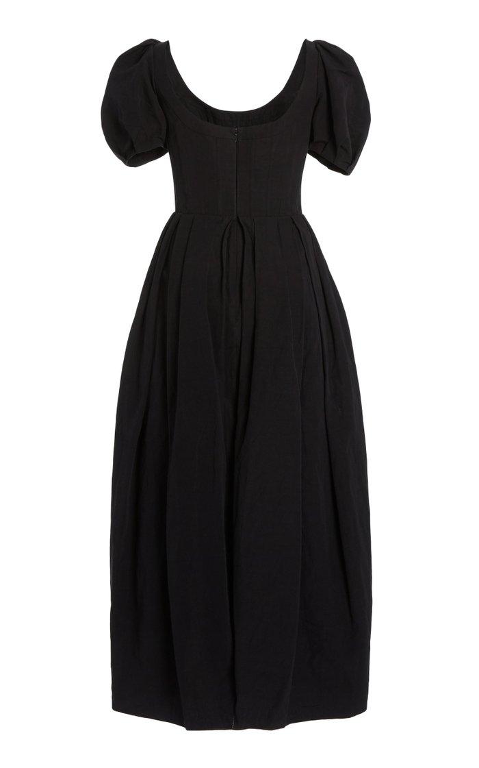Salvina Puff-Sleeve Cotton-Linen Midi Dress