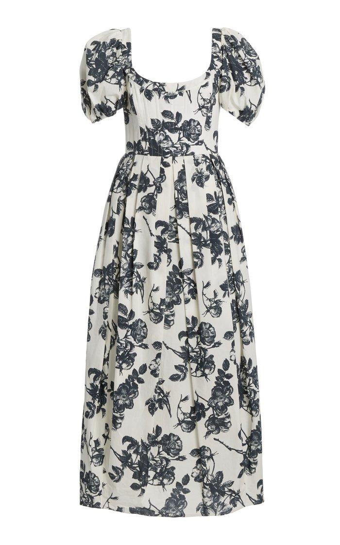 Salvina Puff-Sleeve Floral Cotton Midi Dress