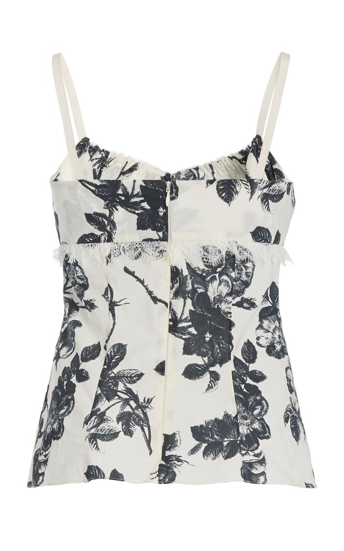 Siria Lace-Trimmed Floral Cotton Top