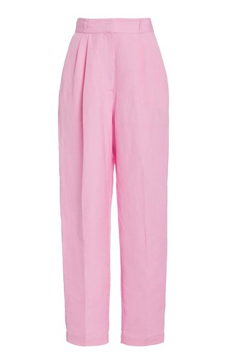 Olivia Pleated Linen-Blend Trousers