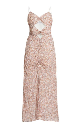 Angelina Ruched Cutout Georgette Maxi Dress