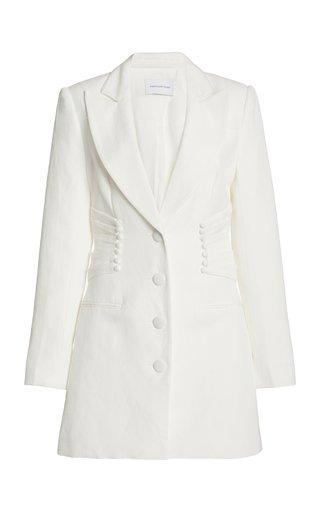 Olivia Button-Detailed Linen-Blend Mini Blazer Dress