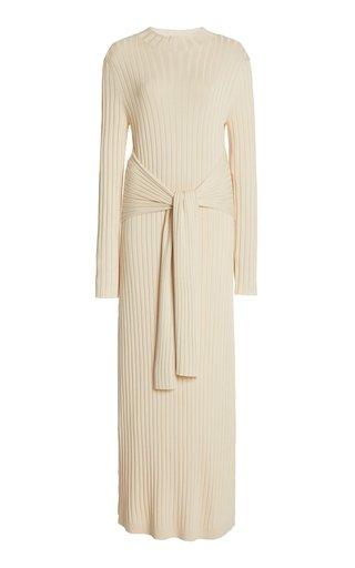 Ariana Belted Ribbed-Knit Midi Dress