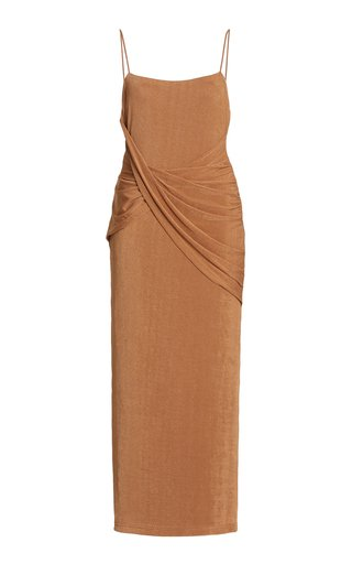 Evelyn Draped Jersey Midi Dress