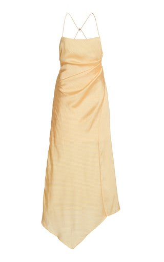 One Another Draped Jacquard Midi Halter Dress