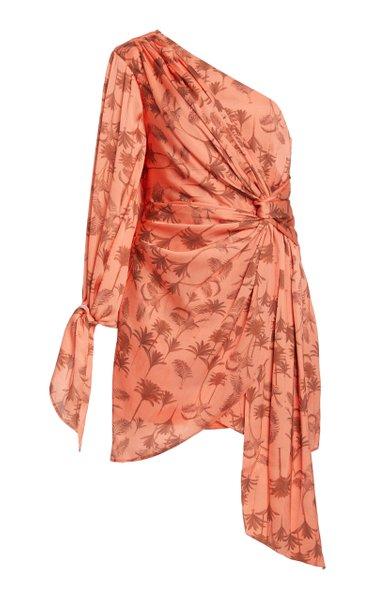 Paradis One-Shoulder Georgette Mini Dress