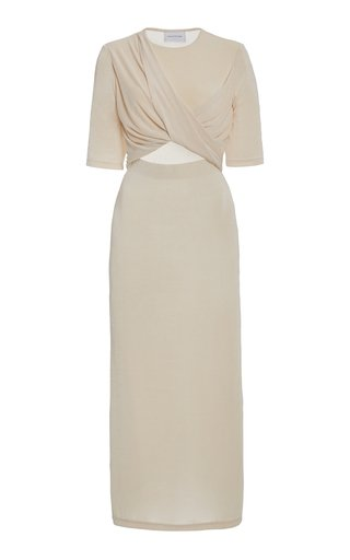 Mila Cutout Draped Jersey Midi Dress