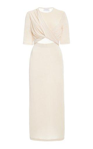 Mila Cutout Draped Jersey Midi Dress