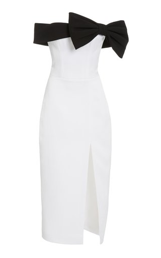 Exclusive Bow-Detailed Satin Off-The-Shoulder Midi Dress