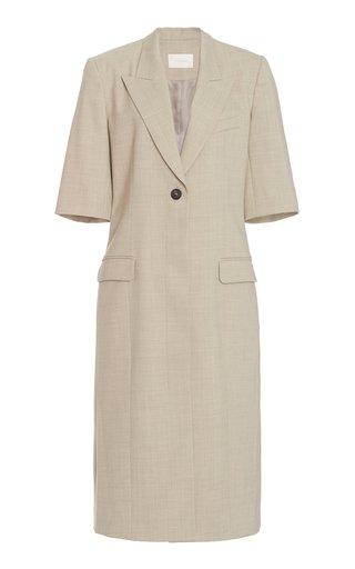 Long Wool-Blend Short-Sleeve Blazer