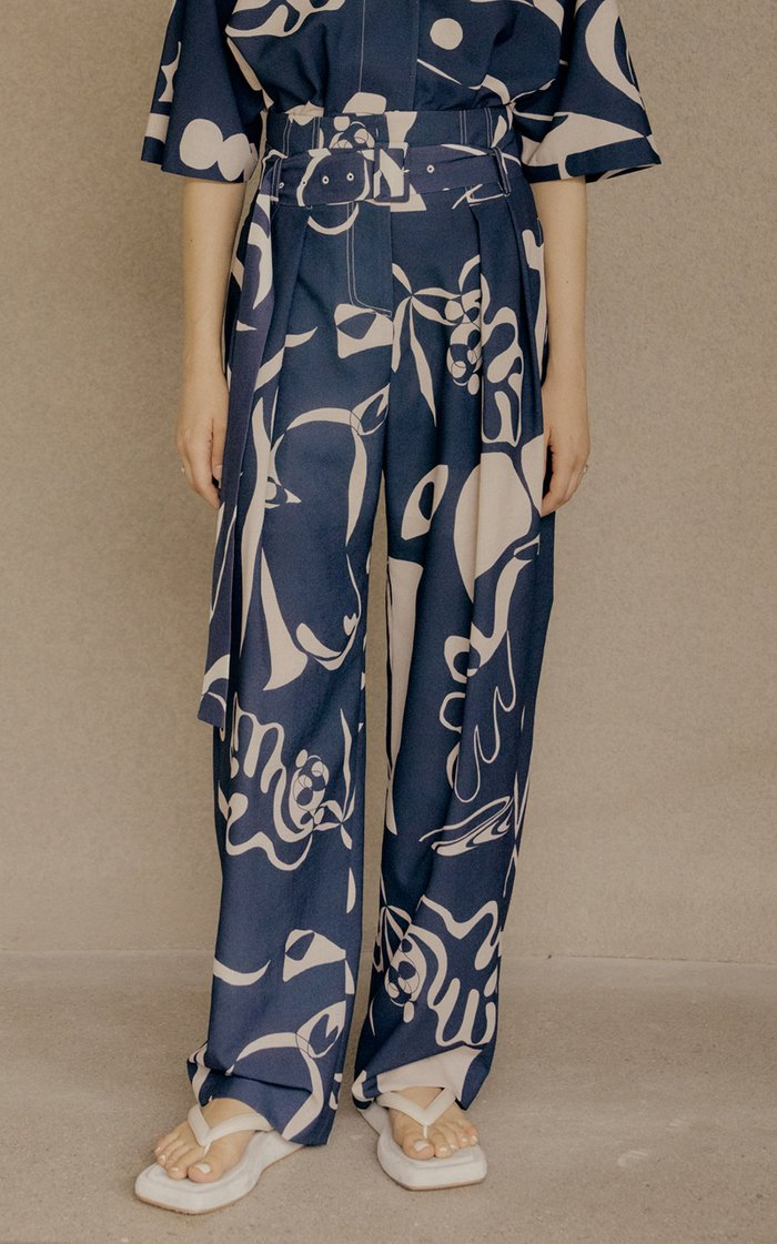 Pleated Printed Crepe Wide-Leg Trousers