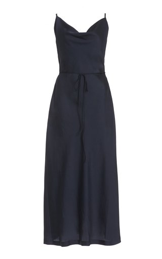 Cowl-Neck Satin Midi Dress
